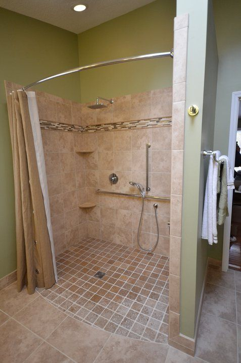 Handicap Shower Water Barrier : Roll in showers for seniors and handicapped barrier